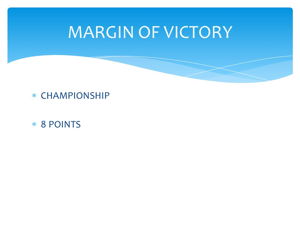  CHAMPIONSHIP  8 POINTS MARGIN OF VICTORY