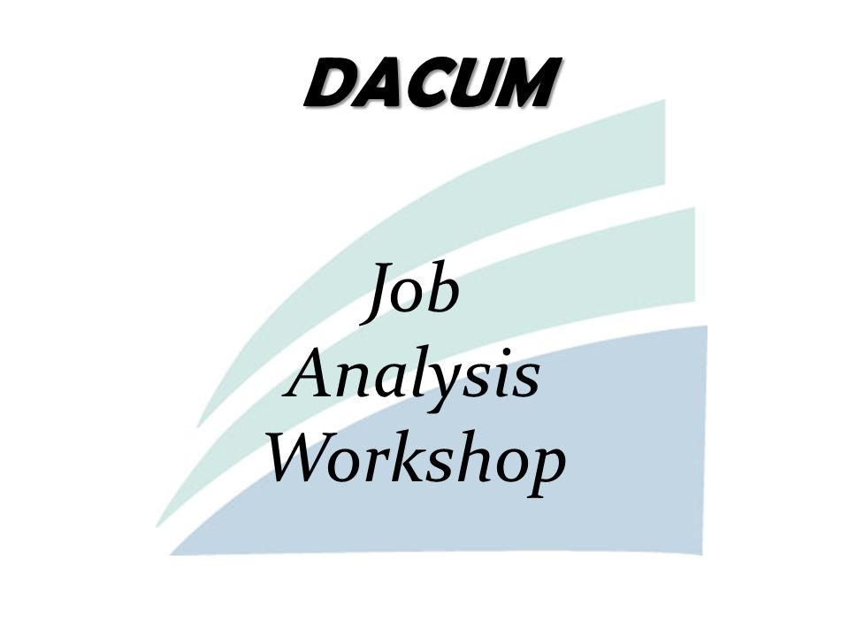 DACUM Job Analysis Workshop