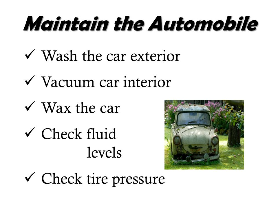Maintain the Automobile Wash the car exterior Vacuum car interior Wax the car Check fluid levels Check tire pressure
