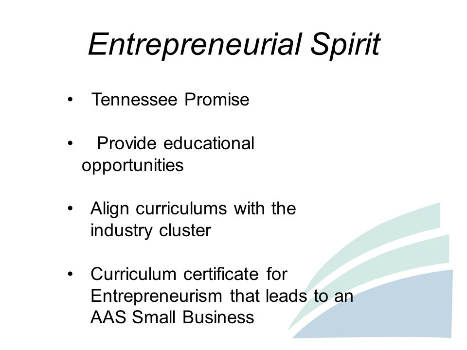 Entrepreneurial Spirit Tennessee Promise Provide educational opportunities Align curriculums with the industry cluster Curriculum certificate for Entr