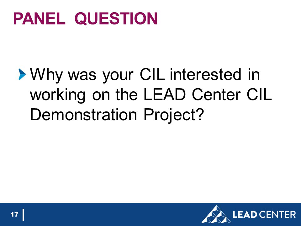PANEL QUESTION Why was your CIL interested in working on the LEAD Center CIL Demonstration Project.