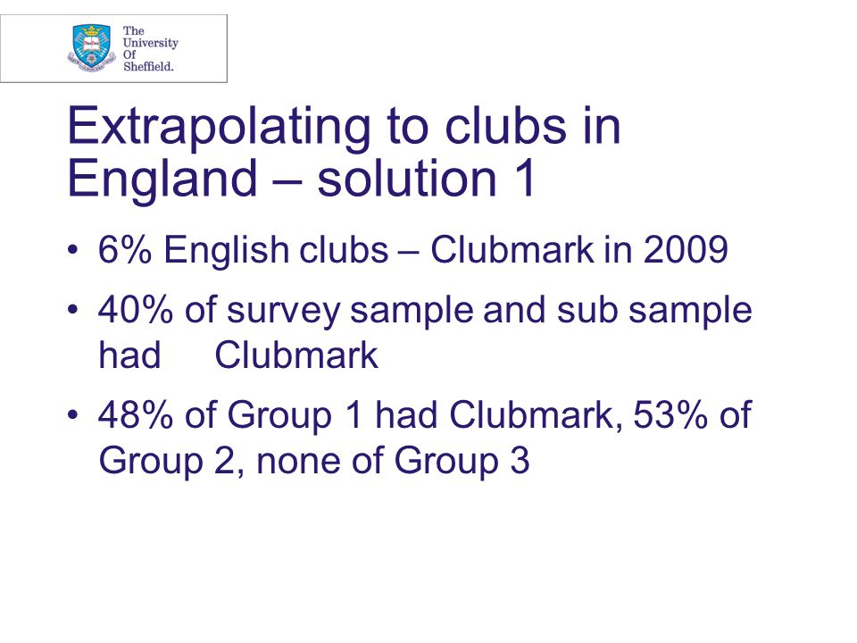 Extrapolating to clubs in England – solution 1 6% English clubs – Clubmark in 2009 40% of survey sample and sub sample had Clubmark 48% of Group 1 had Clubmark, 53% of Group 2, none of Group 3