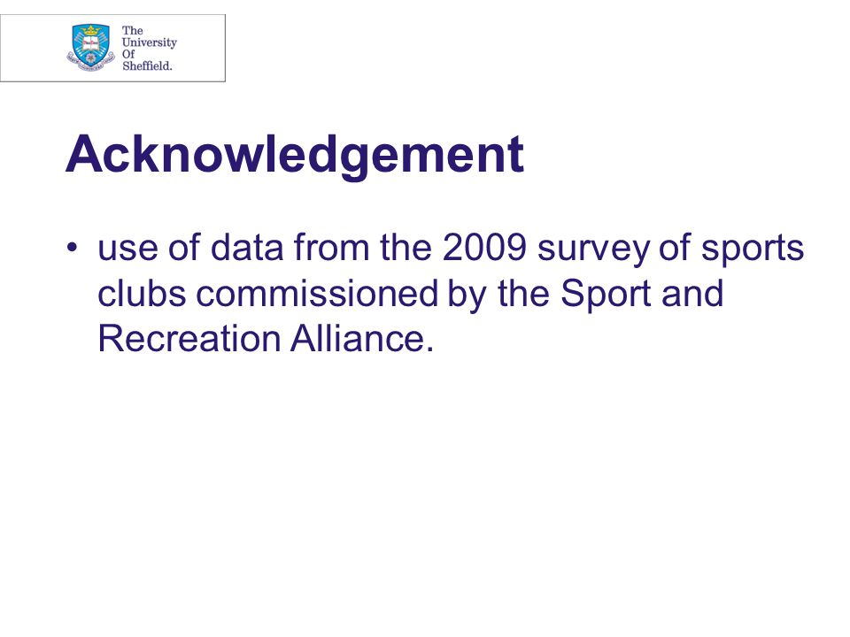Acknowledgement use of data from the 2009 survey of sports clubs commissioned by the Sport and Recreation Alliance.