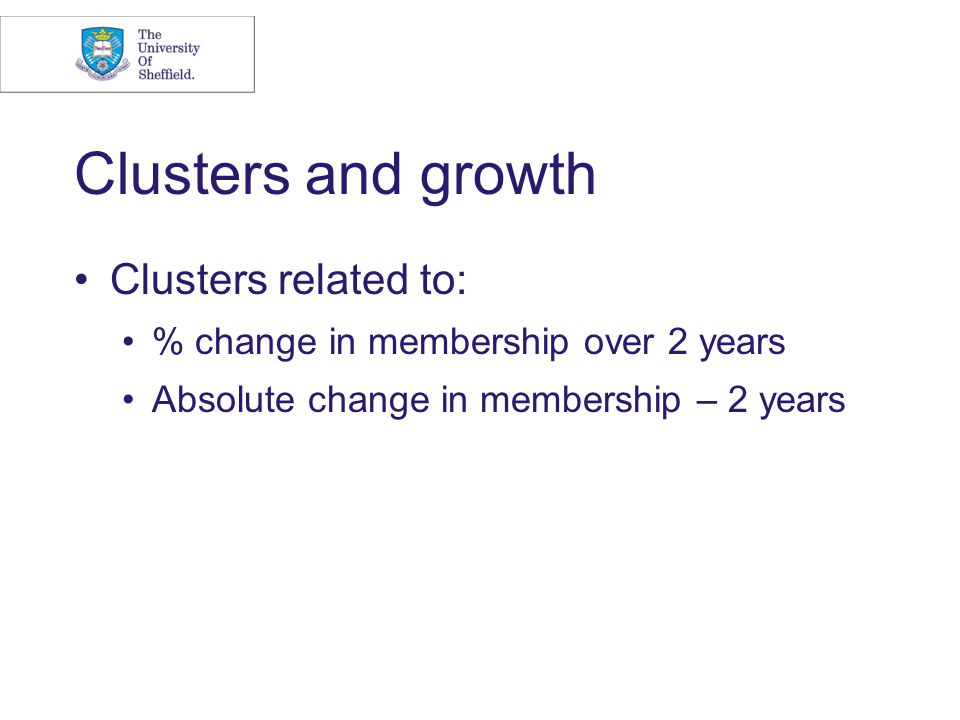 Clusters and growth Clusters related to: % change in membership over 2 years Absolute change in membership – 2 years