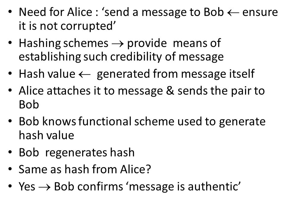 Need for Alice : 'send a message to Bob  ensure it is not corrupted' Hashing schemes  provide means of establishing such credibility of message Hash value  generated from message itself Alice attaches it to message & sends the pair to Bob Bob knows functional scheme used to generate hash value Bob regenerates hash Same as hash from Alice.