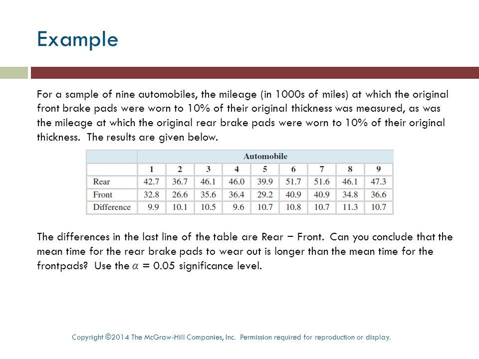 Example For a sample of nine automobiles, the mileage (in 1000s of miles) at which the original front brake pads were worn to 10% of their original thickness was measured, as was the mileage at which the original rear brake pads were worn to 10% of their original thickness.