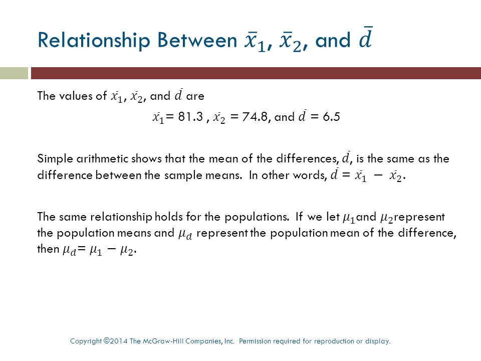 Confidence Interval Using Matched Pairs Copyright ©2014 The McGraw-Hill Companies, Inc.