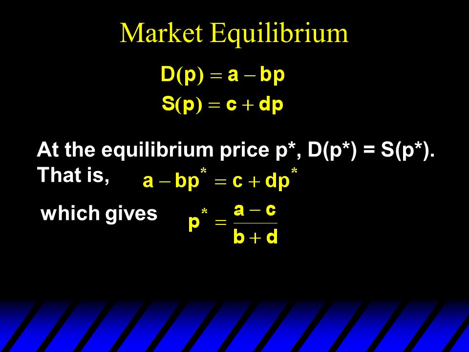 Market Equilibrium At the equilibrium price p*, D(p*) = S(p*). That is, which gives