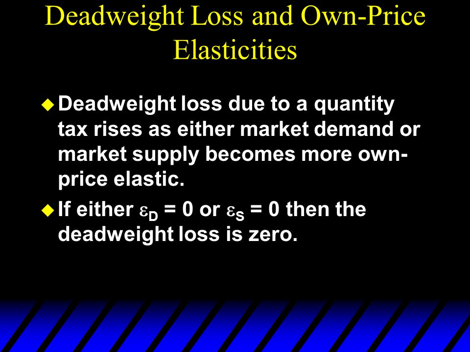 Deadweight Loss and Own-Price Elasticities  Deadweight loss due to a quantity tax rises as either market demand or market supply becomes more own- pr