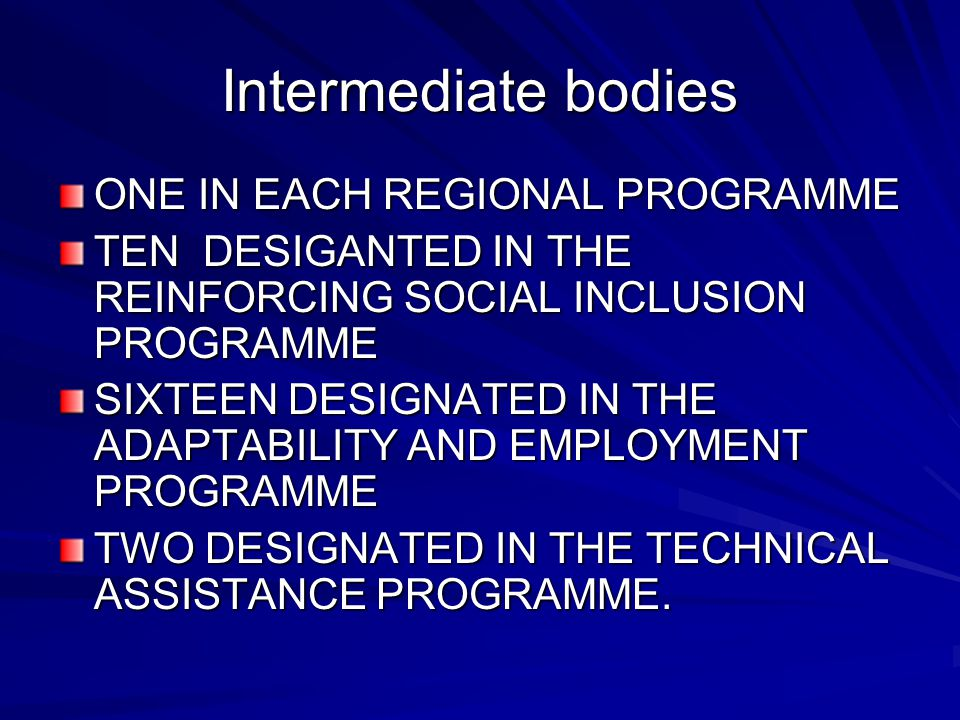 Intermediate bodies ONE IN EACH REGIONAL PROGRAMME TEN DESIGANTED IN THE REINFORCING SOCIAL INCLUSION PROGRAMME SIXTEEN DESIGNATED IN THE ADAPTABILITY AND EMPLOYMENT PROGRAMME TWO DESIGNATED IN THE TECHNICAL ASSISTANCE PROGRAMME.