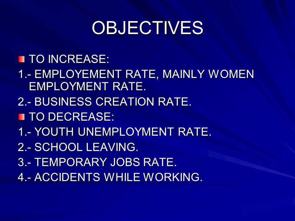 OBJECTIVES TO INCREASE: 1.- EMPLOYEMENT RATE, MAINLY WOMEN EMPLOYMENT RATE.
