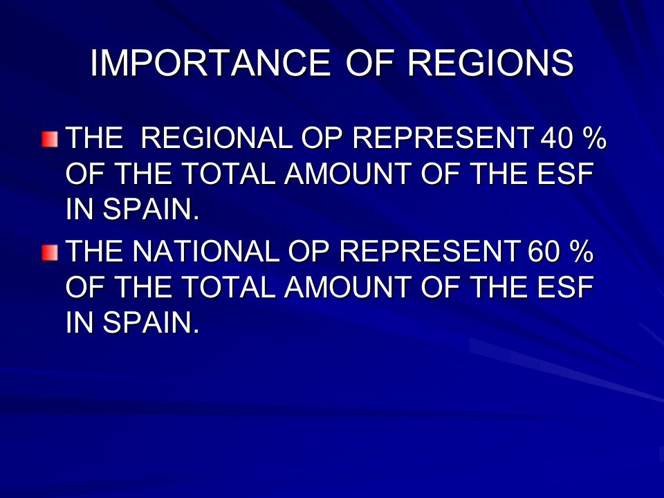 IMPORTANCE OF REGIONS THE REGIONAL OP REPRESENT 40 % OF THE TOTAL AMOUNT OF THE ESF IN SPAIN.
