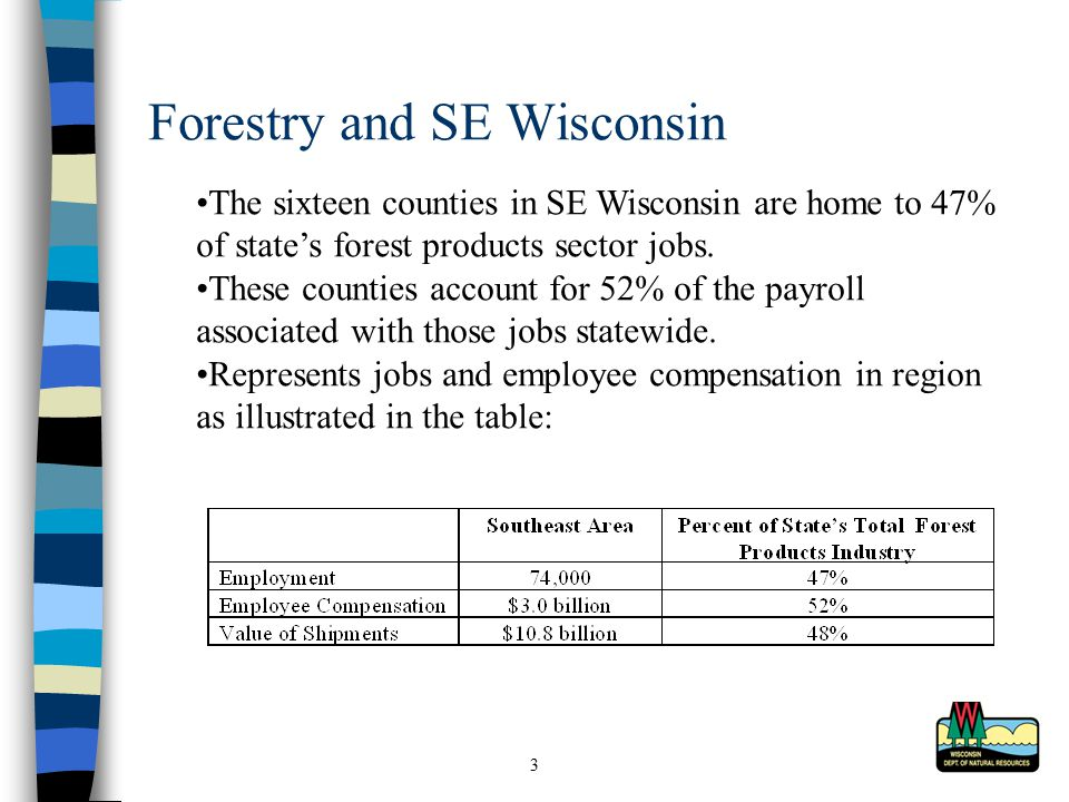 3 Forestry and SE Wisconsin The sixteen counties in SE Wisconsin are home to 47% of state's forest products sector jobs.