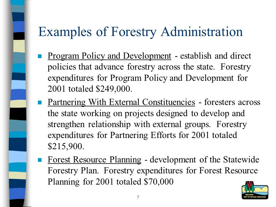 7 Examples of Forestry Administration Program Policy and Development - establish and direct policies that advance forestry across the state.