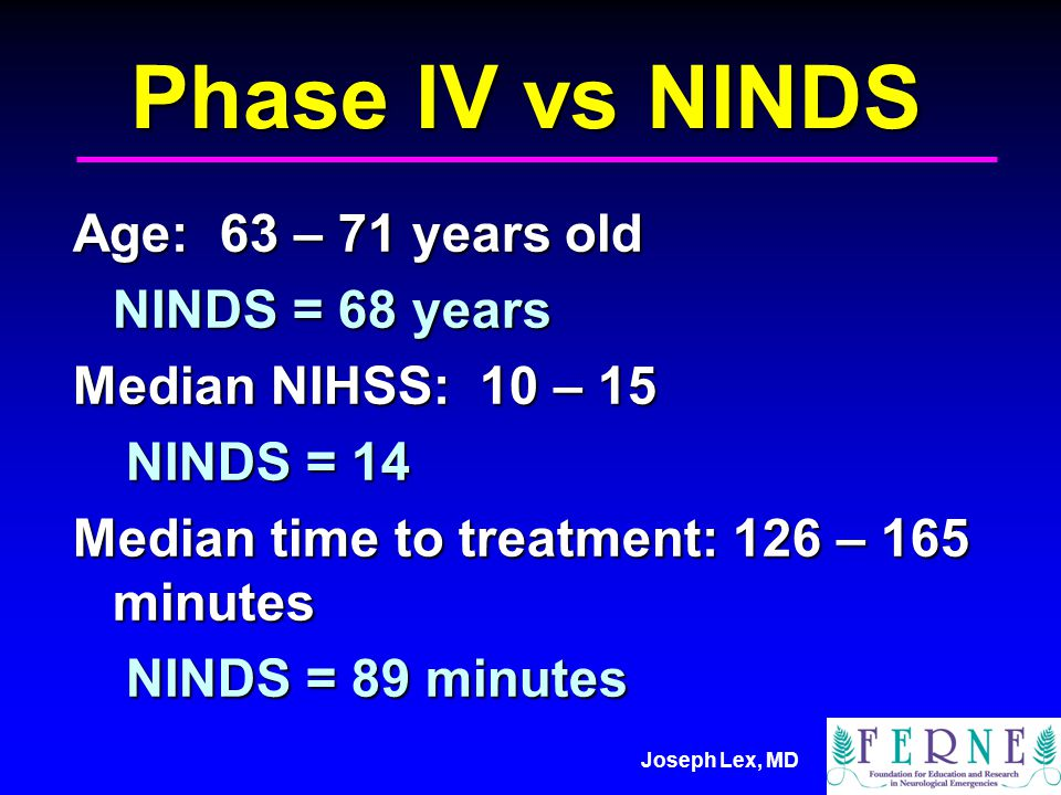 Joseph Lex, MD Phase IV vs NINDS Age: 63 – 71 years old NINDS = 68 years Median NIHSS: 10 – 15 NINDS = 14 Median time to treatment: 126 – 165 minutes NINDS = 89 minutes