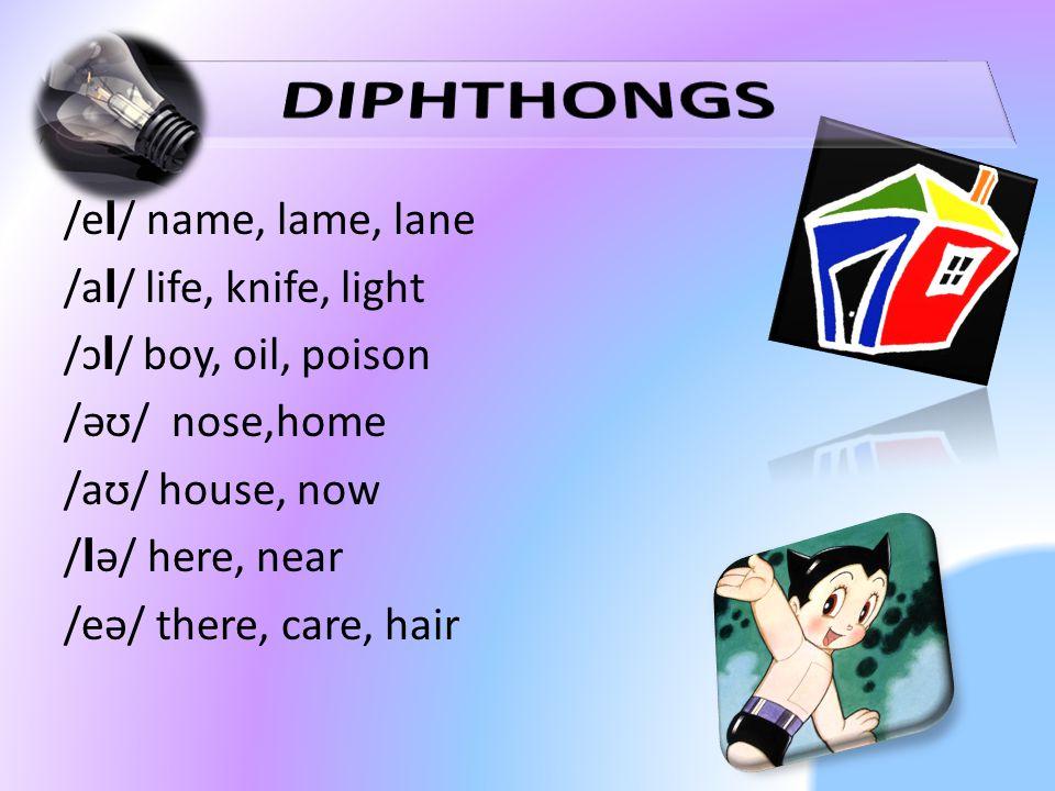 /e I / name, lame, lane /a I / life, knife, light /ɔ I / boy, oil, poison /əʊ/ nose,home /aʊ/ house, now / I ə/ here, near /eə/ there, care, hair