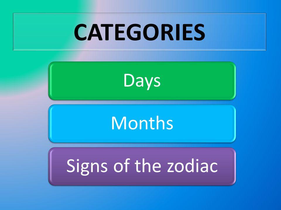 CATEGORIES DaysMonthsSigns of the zodiac
