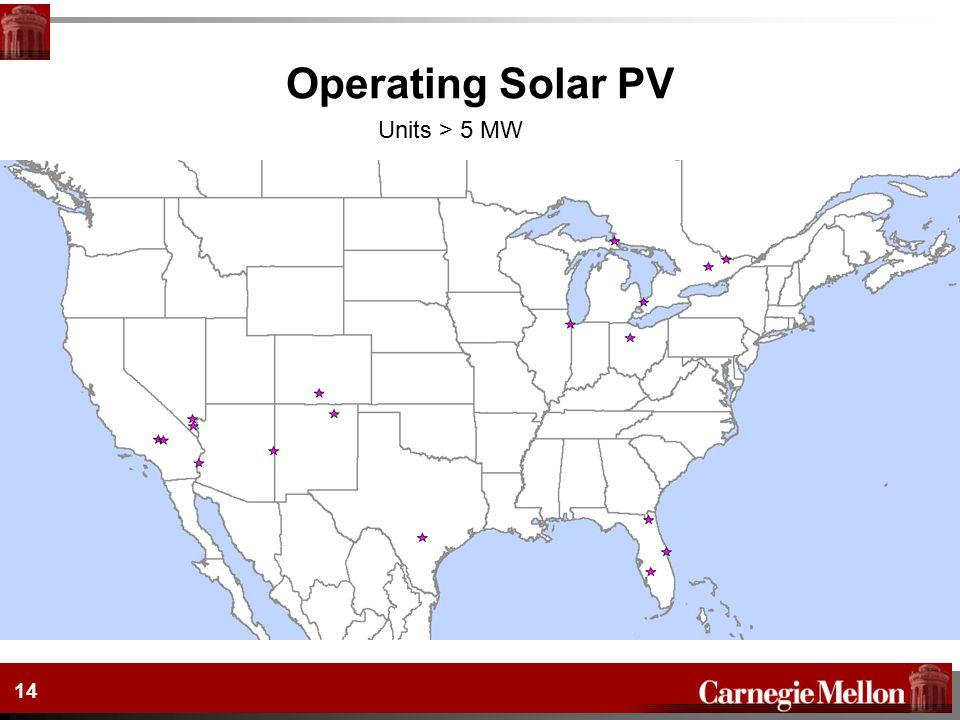 14 Operating Solar PV Units > 5 MW