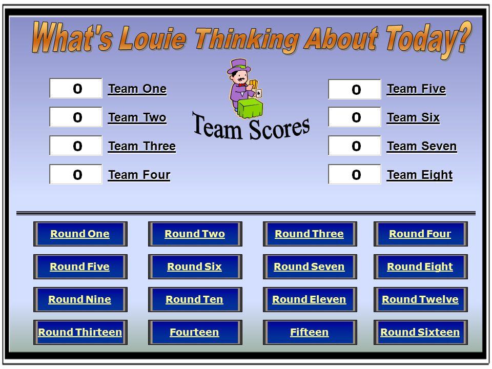 Team One Team Two Team Three Team Four Team Five Team Six Team Seven Team Eight Round FourRound EightRound TwelveRound SixteenRound ThreeRound SevenRound ElevenFifteenRound TwoRound SixRound TenFourteenRound OneRound FiveRound NineRound Thirteen
