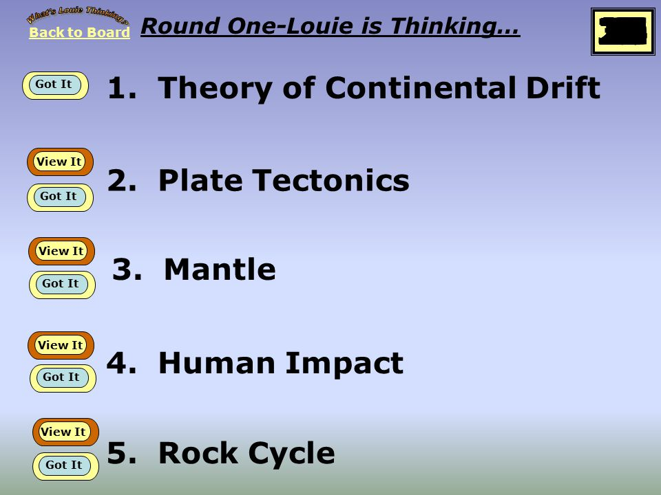 1.Theory of Continental Drift Round One-Louie is Thinking… 2.