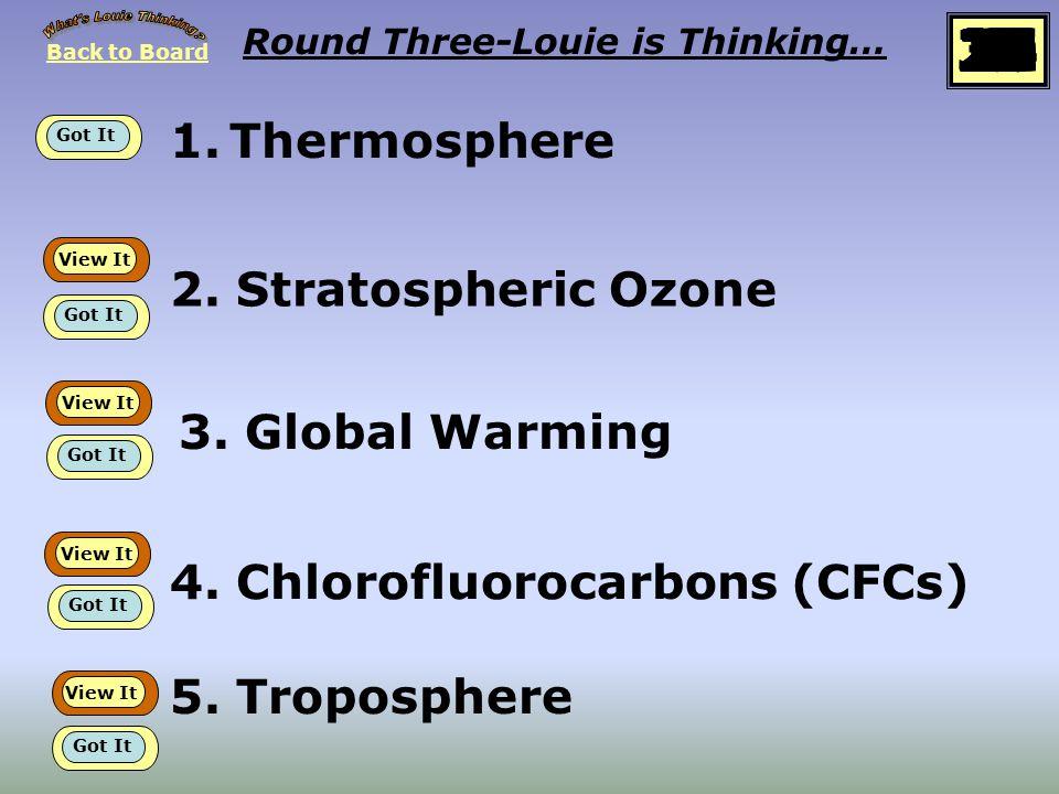 1.Thermosphere Round Three-Louie is Thinking… 2.Stratospheric Ozone 3.