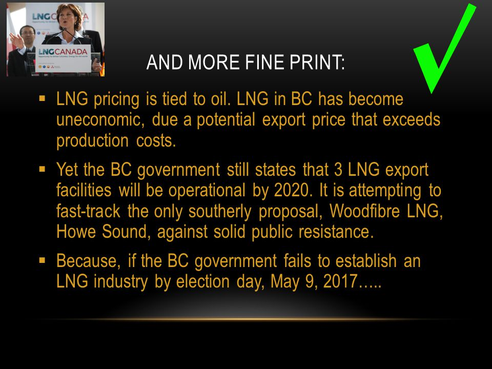 AND MORE FINE PRINT:  LNG pricing is tied to oil.