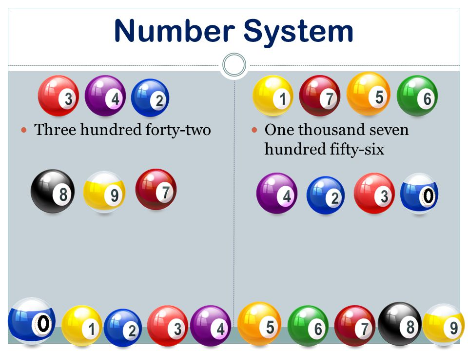 Number System Three hundred forty-two One thousand seven hundred fifty-six