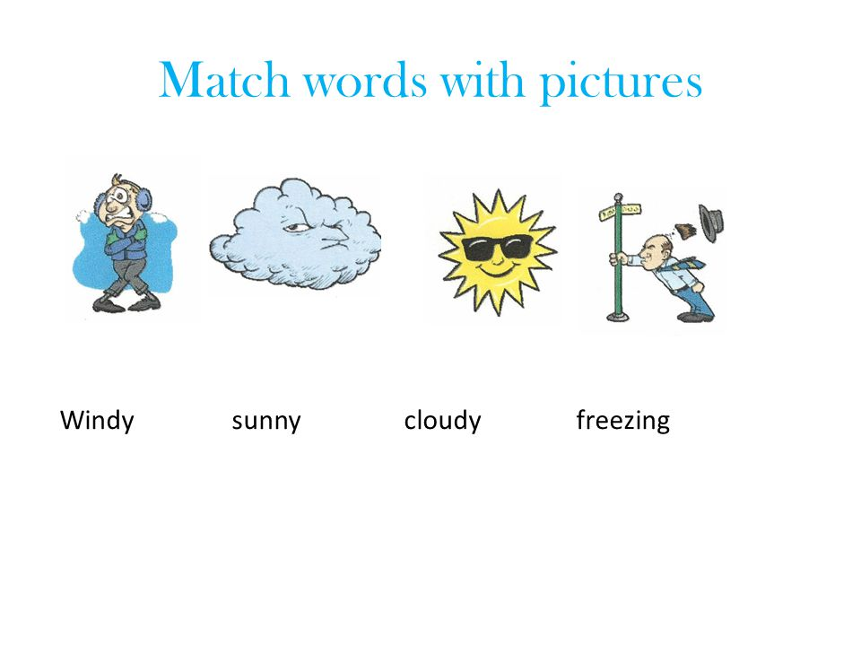 The weather forecast Fill the gap: cloudy, stormy, sunny In London, it is………..