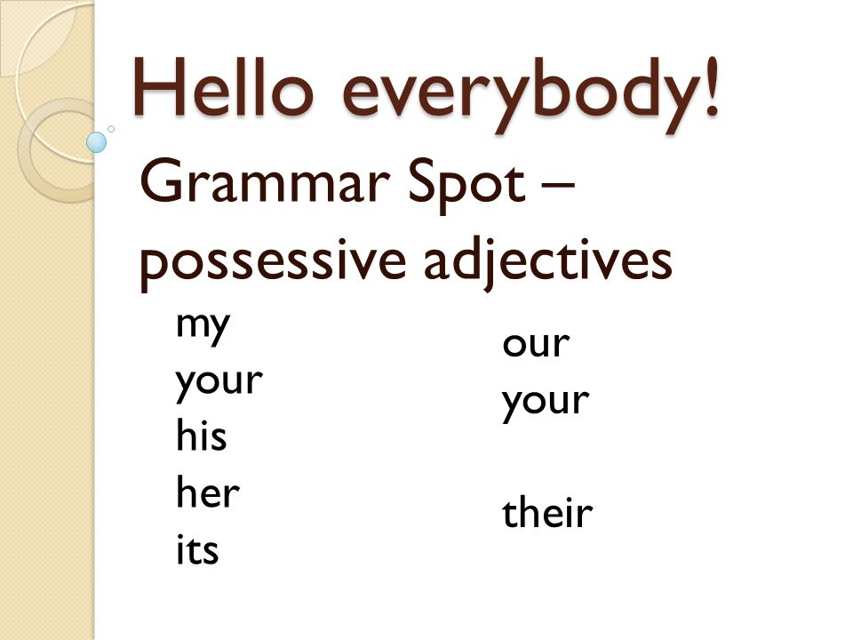 Hello everybody! Grammar Spot – possessive adjectives my your his her its our your their