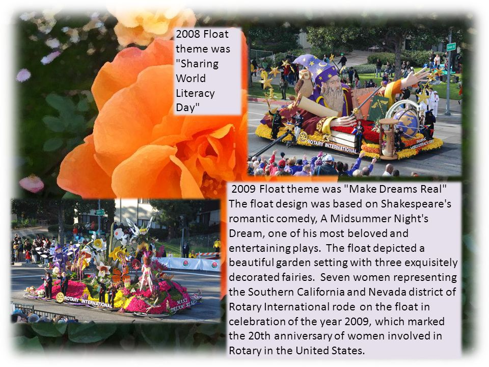 2012 Float theme Inching Towards the End of Polio and it was the Winner of the Princess Trophy 2010 Float theme: Service Above the Rest .