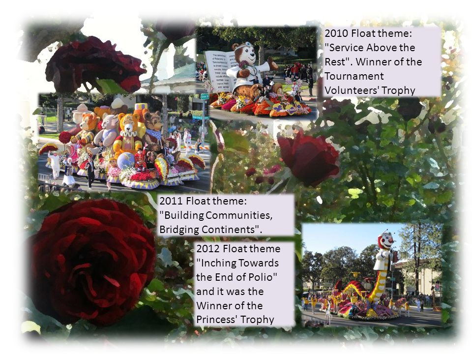 Now in their 31st year Phoenix Decorating Company, winner of 220 awards for its Rose Parade floats, is again building Rotary's entry in the parade.