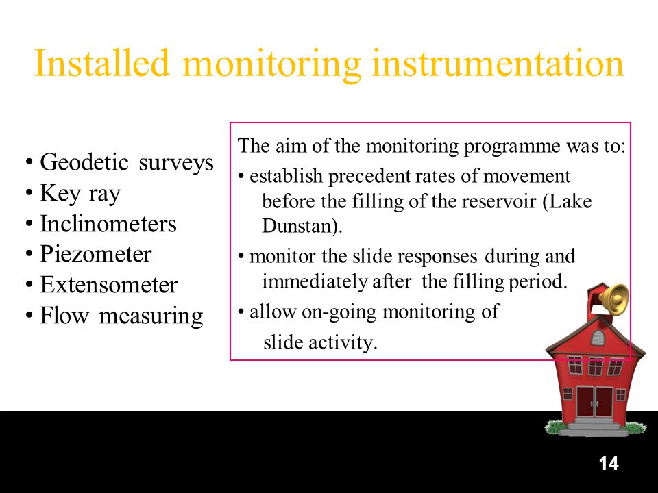 14 Installed monitoring instrumentation The aim of the monitoring programme was to: establish precedent rates of movement before the filling of the reservoir (Lake Dunstan).