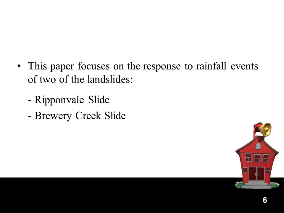 6 This paper focuses on the response to rainfall events of two of the landslides: - Ripponvale Slide - Brewery Creek Slide