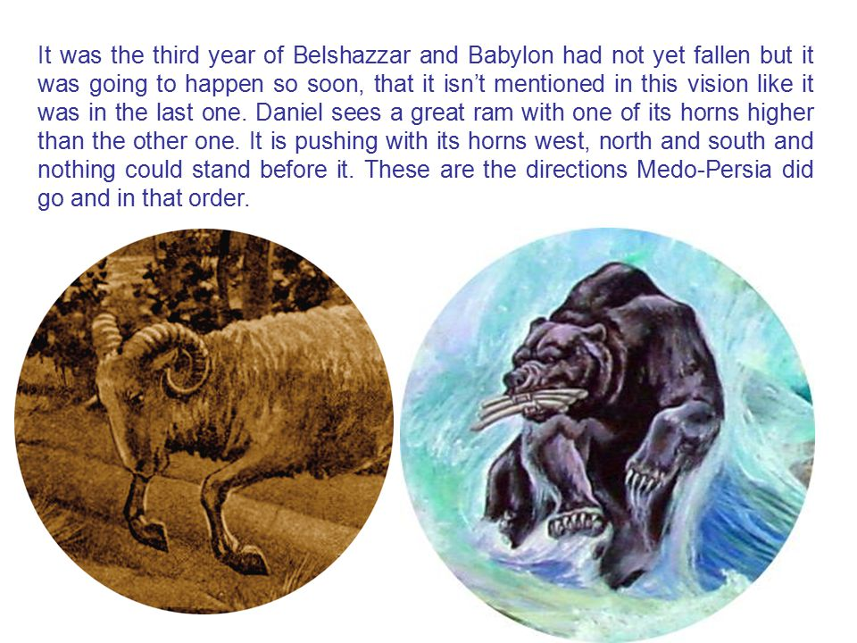 It was the third year of Belshazzar and Babylon had not yet fallen but it was going to happen so soon, that it isn't mentioned in this vision like it