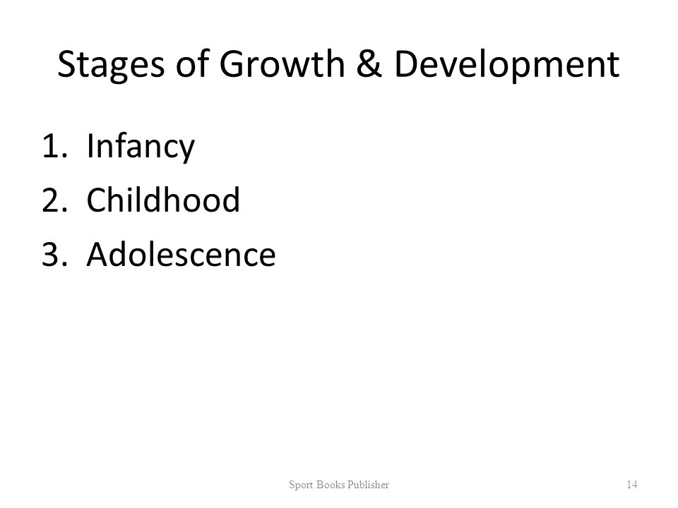 Stages of Growth & Development 1.Infancy 2.Childhood 3.Adolescence Sport Books Publisher 14