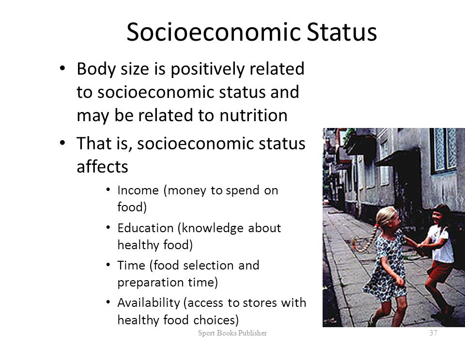 Socioeconomic Status Body size is positively related to socioeconomic status and may be related to nutrition That is, socioeconomic status affects Income (money to spend on food) Education (knowledge about healthy food) Time (food selection and preparation time) Availability (access to stores with healthy food choices) Sport Books Publisher 37