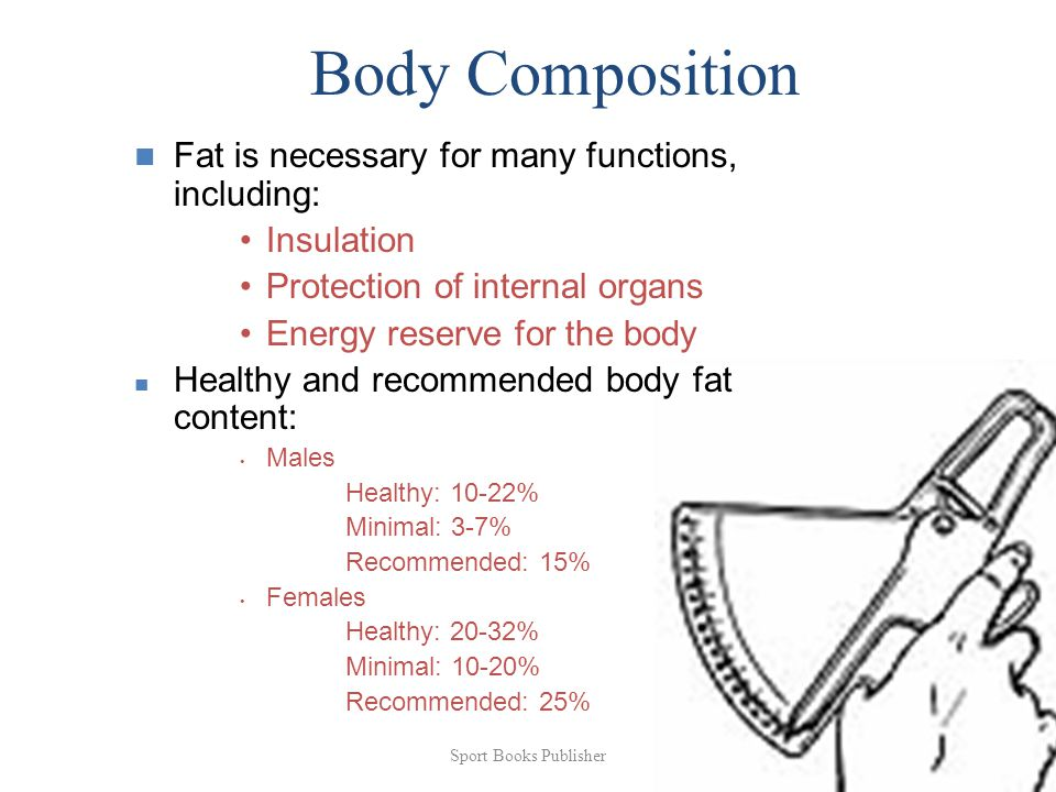 Sport Books Publisher 64 Body Composition Fat is necessary for many functions, including: Insulation Protection of internal organs Energy reserve for the body Healthy and recommended body fat content: Males Healthy: 10-22% Minimal: 3-7% Recommended: 15% Females Healthy: 20-32% Minimal: 10-20% Recommended: 25%