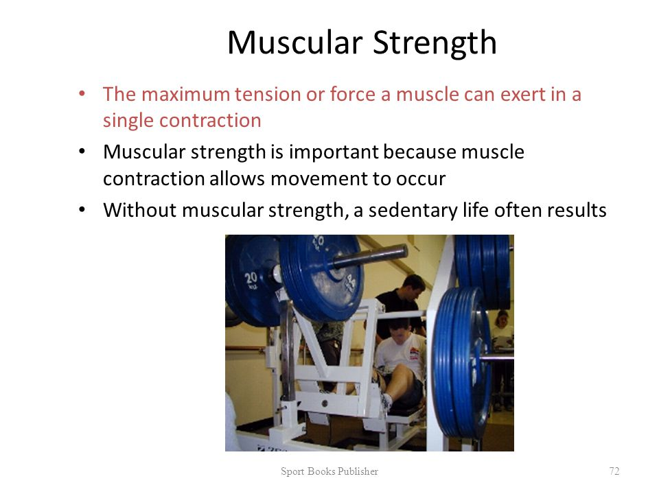 Muscular Strength The maximum tension or force a muscle can exert in a single contraction Muscular strength is important because muscle contraction allows movement to occur Without muscular strength, a sedentary life often results Sport Books Publisher 72