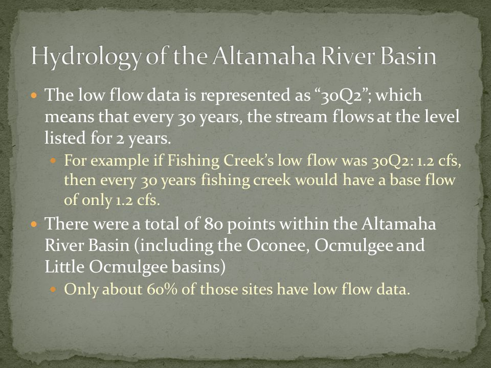 "The low flow data is represented as ""30Q2""; which means that every 30 years, the stream flows at the level listed for 2 years. For example if Fishing"