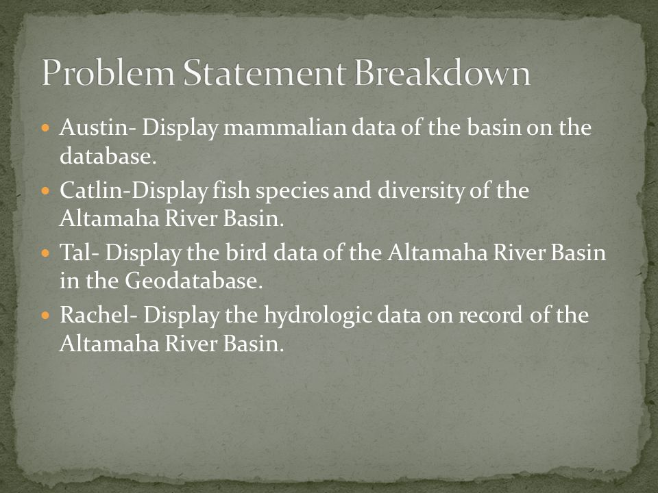 Austin- Display mammalian data of the basin on the database. Catlin-Display fish species and diversity of the Altamaha River Basin. Tal- Display the b