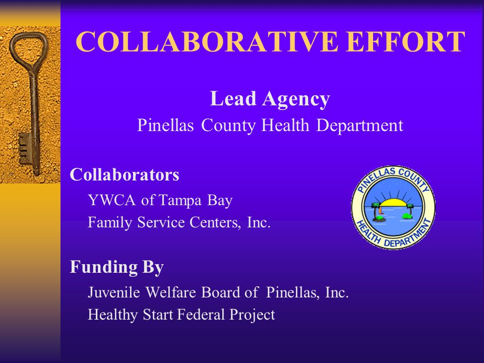 HISTORY –The Father Services Program was established in 1997 in Pinellas County –National Healthy Start workshop with Baltimore Men's Services Program –Multi-agency and multi-funding