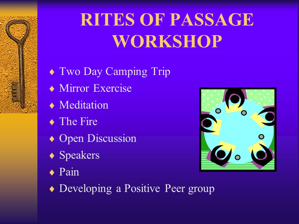 RITES OF PASSAGE WORKSHOP  Two Day Camping Trip  Mirror Exercise  Meditation  The Fire  Open Discussion  Speakers  Pain  Developing a Positive Peer group