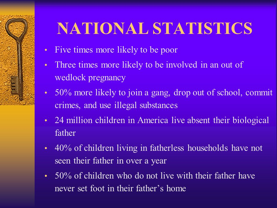 NATIONAL STATISTICS Children from fatherless homes are twice as likely to be abused remarriage is not the answer 75% of teenage suicides occur in single parent homes (National Center for Fathering) FLORIDA STATISTICS 51% of fatherless children in Florida are poor 78% of all teens in Florida's detention facilities come from fatherless homes (85% nationally)