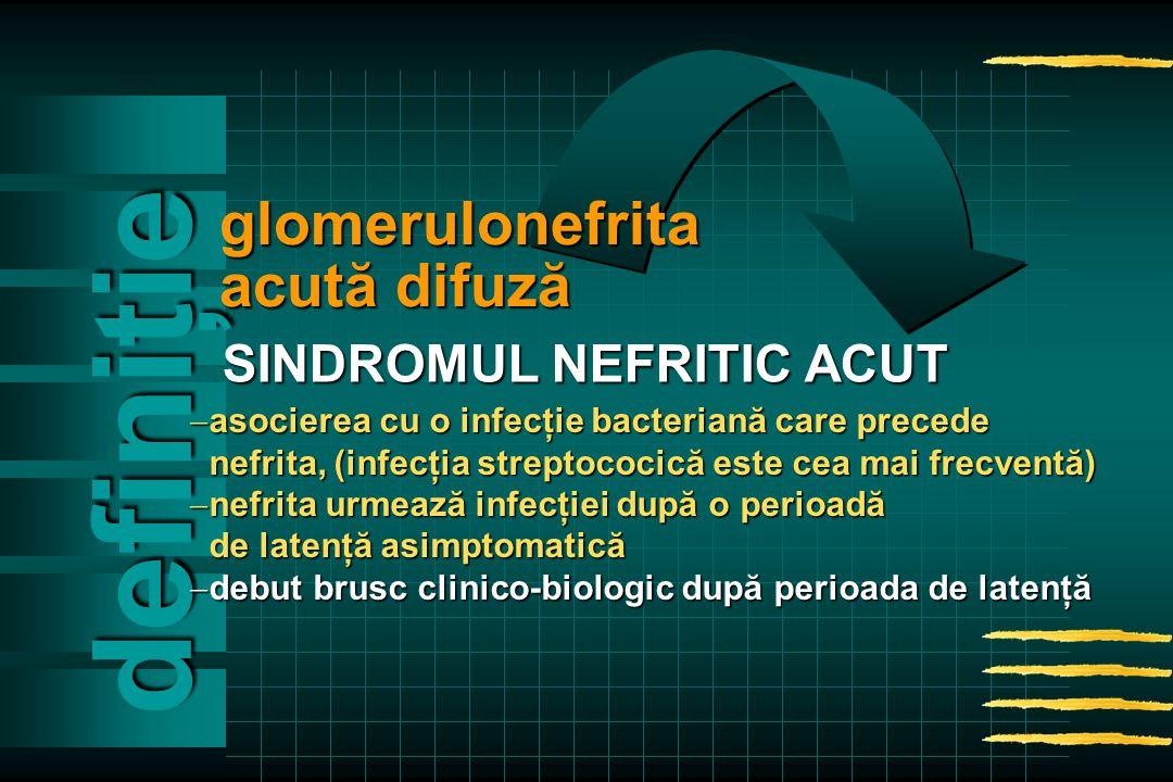 definiţie  asocierea cu o infecţie bacteriană care precede nefrita, (infecţia streptococică este cea mai frecventă) nefrita, (infecţia streptococică este cea mai frecventă)  nefrita urmează infecţiei după o perioadă de latenţă asimptomatică de latenţă asimptomatică  debut brusc clinico-biologic după perioada de latenţă glomerulonefrita acută difuză SINDROMUL NEFRITIC ACUT