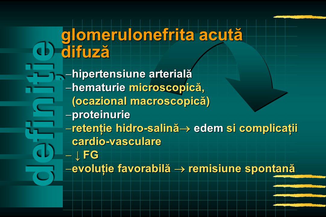  hipertensiune arterială  hematurie microscopică, (ocazional macroscopică) (ocazional macroscopică)  proteinurie  retenţie hidro-salină  edem si complicaţii cardio-vasculare cardio-vasculare  ↓ FG  evoluţie favorabilă  remisiune spontană definiţie glomerulonefrita acută difuză
