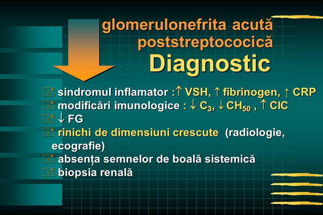  sindromul inflamator :  VSH,  fibrinogen, ↑ CRP  modificări imunologice :  C 3,  CH 50,  CIC +  FG + rinichi de dimensiuni crescute (radiologie, ecografie) ecografie) + absenţa semnelor de boală sistemică + biopsia renală Diagnostic glomerulonefrita acută poststreptococică