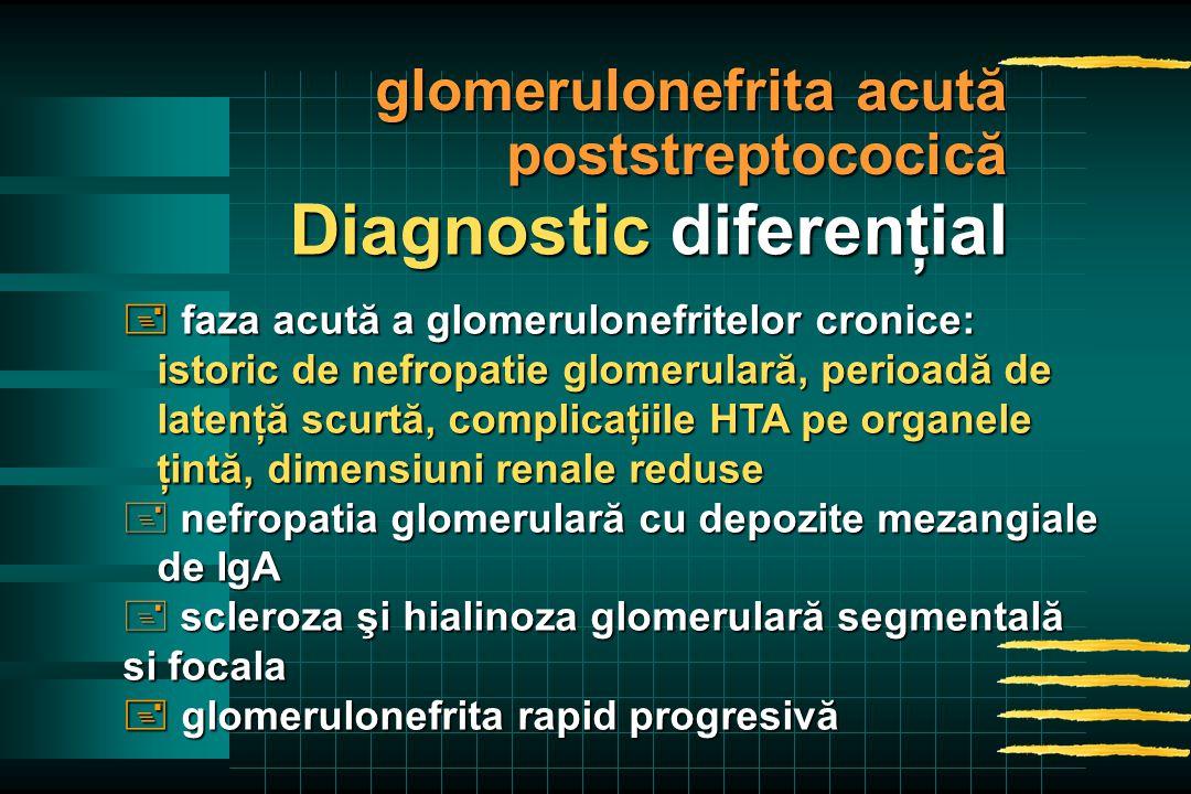  faza acută a glomerulonefritelor cronice: istoric de nefropatie glomerulară, perioadă de istoric de nefropatie glomerulară, perioadă de latenţă scurtă, complicaţiile HTA pe organele latenţă scurtă, complicaţiile HTA pe organele ţintă, dimensiuni renale reduse ţintă, dimensiuni renale reduse + nefropatia glomerulară cu depozite mezangiale de IgA de IgA + scleroza şi hialinoza glomerulară segmentală si focala  glomerulonefrita rapid progresivă Diagnostic diferenţial glomerulonefrita acută poststreptococică