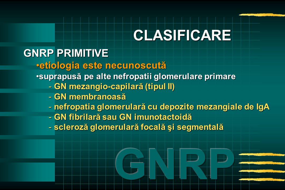 GNRP PRIMITIVE etiologia este necunoscutăetiologia este necunoscută suprapusă pe alte nefropatii glomerulare primaresuprapusă pe alte nefropatii glomerulare primare - GN mezangio-capilară (tipul II) - GN membranoasă - nefropatia glomerulară cu depozite mezangiale de IgA - GN fibrilară sau GN imunotactoidă - scleroză glomerulară focală şi segmentală CLASIFICARE