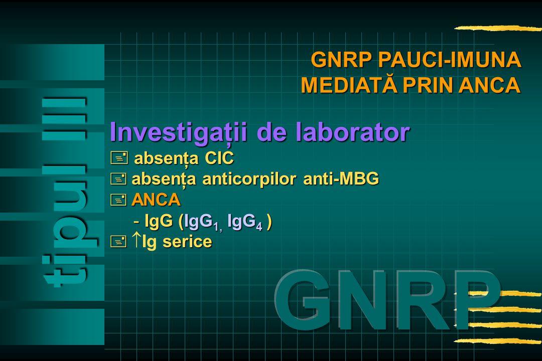 Investigaţii de laborator  absenţa CIC  absenţa anticorpilor anti-MBG  ANCA - IgG (IgG 1, IgG 4 )  serice   Ig serice tipul Ill GNRP PAUCI-IMUNA MEDIATĂ PRIN ANCA