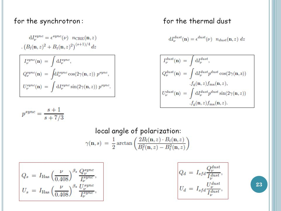 23 for the synchrotron :for the thermal dust local angle of polarization: